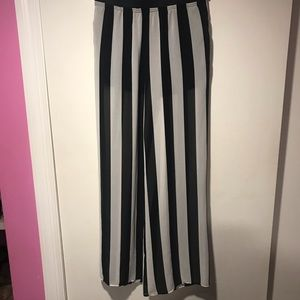 Black and white striped, wide leg pants